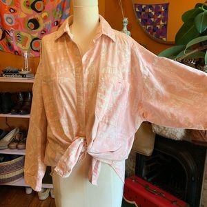 Vtg 80s Diane Von Furstenburg Pink Print Shirt